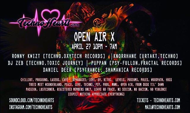 Next Gig - @technohearts Open Air X april 27   @bokaljud.nu @technohearts_records @technohearts @djpuppan @danielhjort @ronny_kwizt